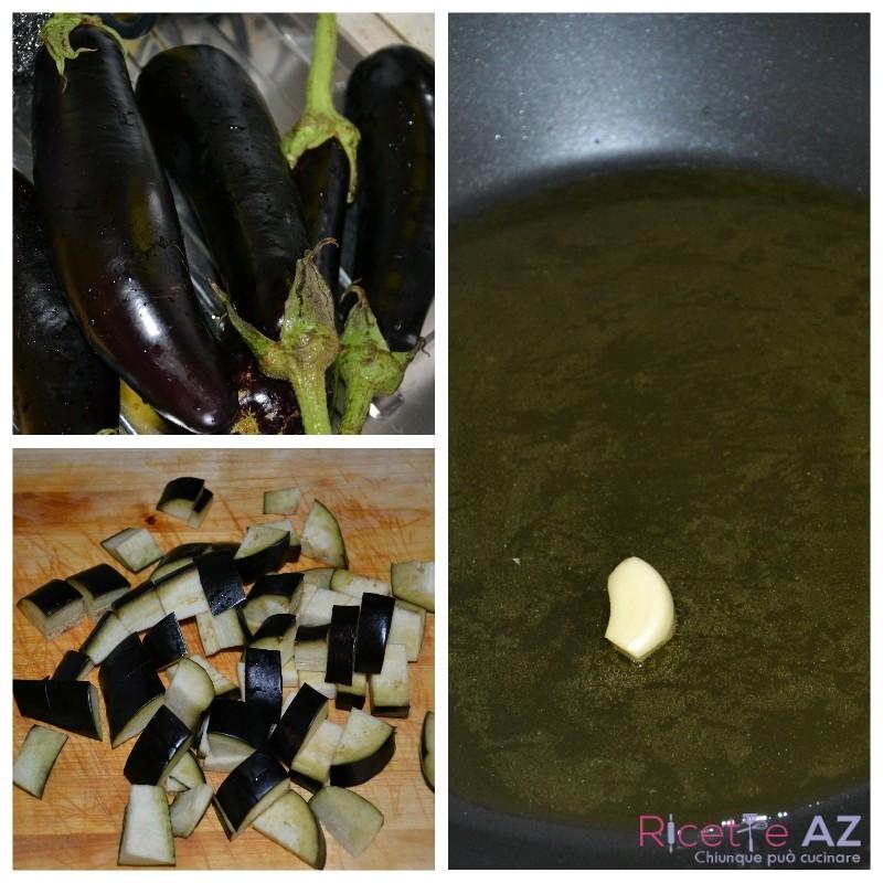 Melanzane a funghetto con zenzero e curcuma preparazione