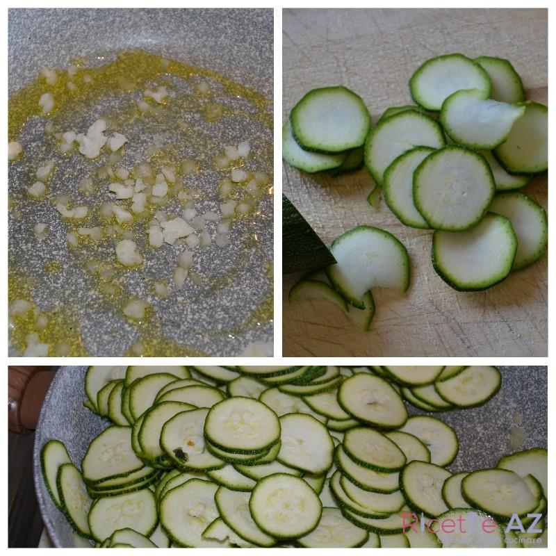 Zucchine in padella preparazione