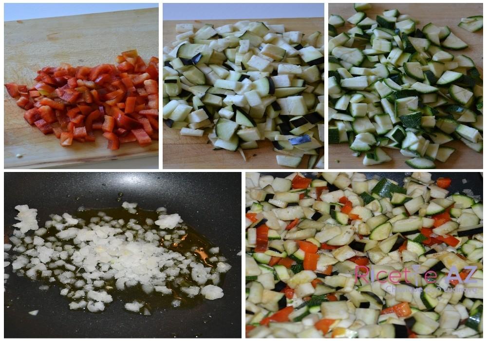Cuoci le verdure per l'insalata di farro